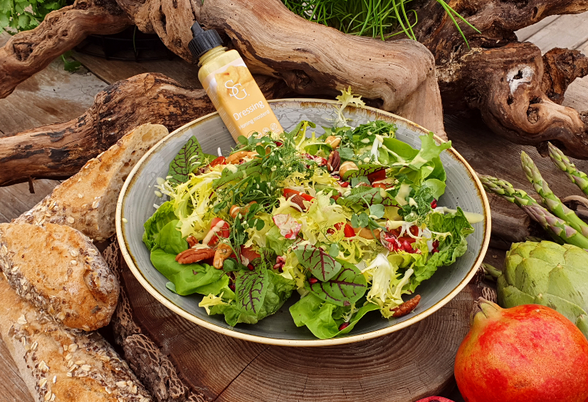 Side salad bbq honing mosterd